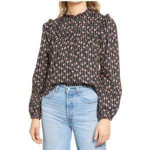 NWT WAYF Linford Floral Pintuck Blouse In Black